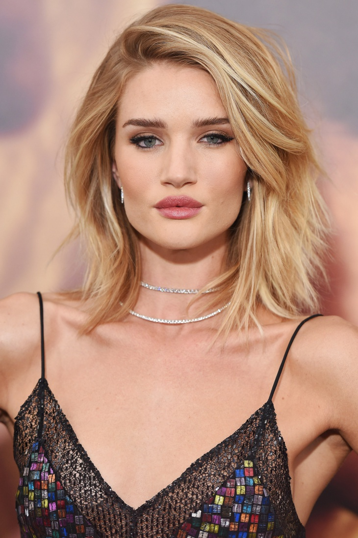Rosie Huntington Long Layered Bob Haircut