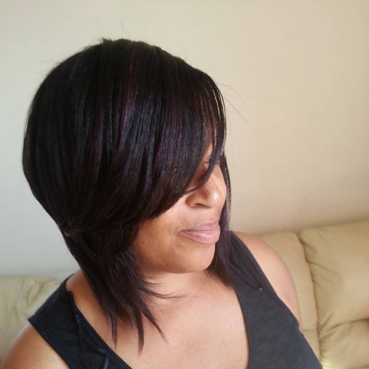 Layered Bob Haircut with Bangs