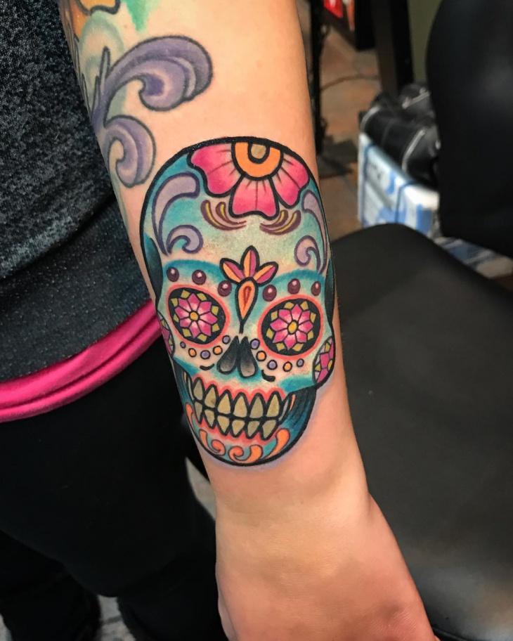 Sugar Skull Skull Forearm Tattoo