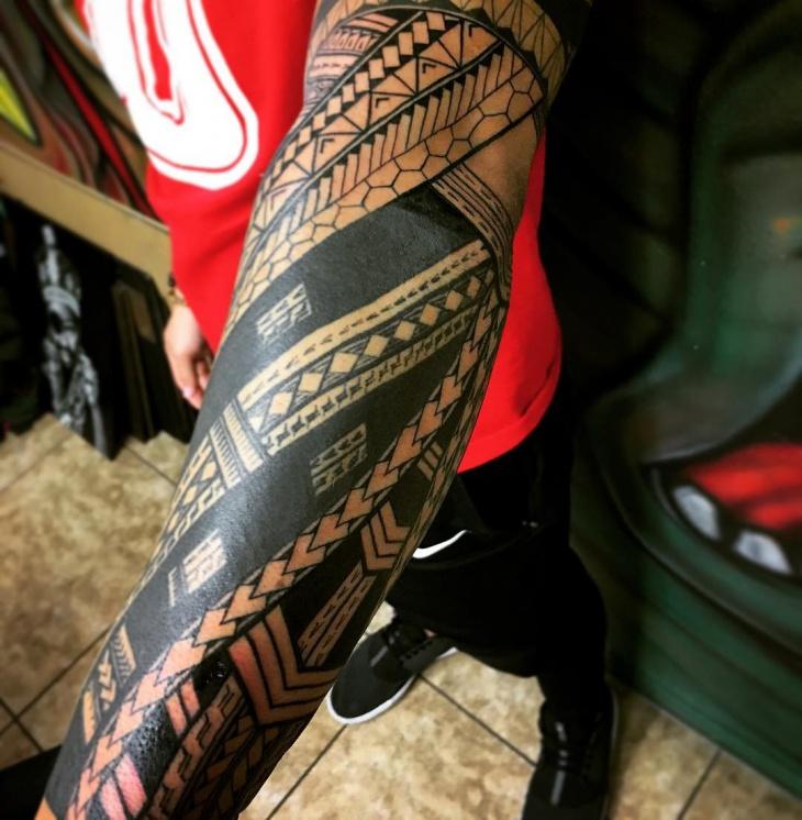 Polynesian Forearm Sleeve Tattoo