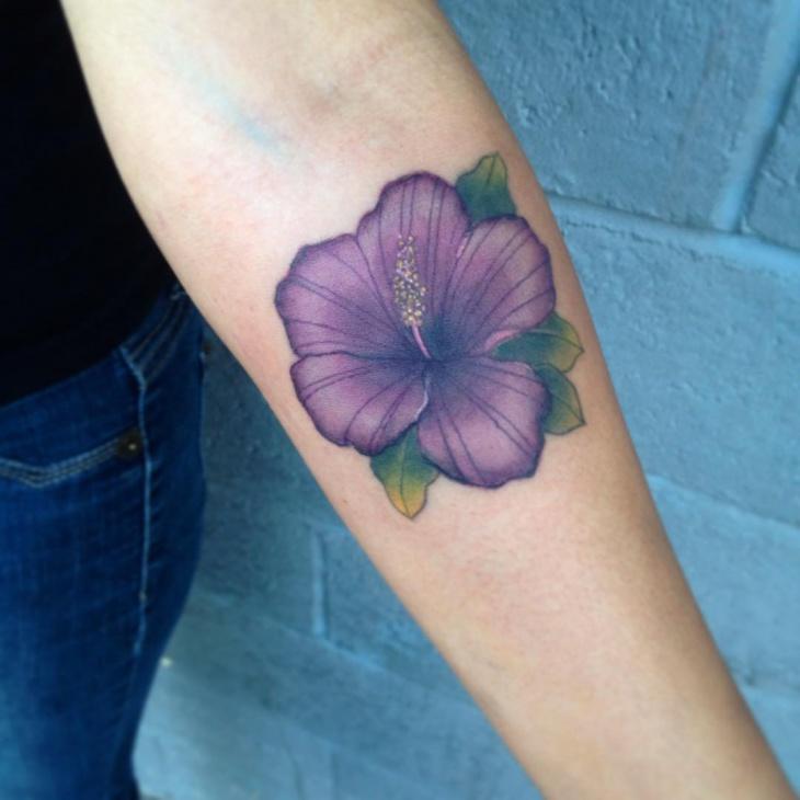 Hawaiian Flower Forearm Tattoo