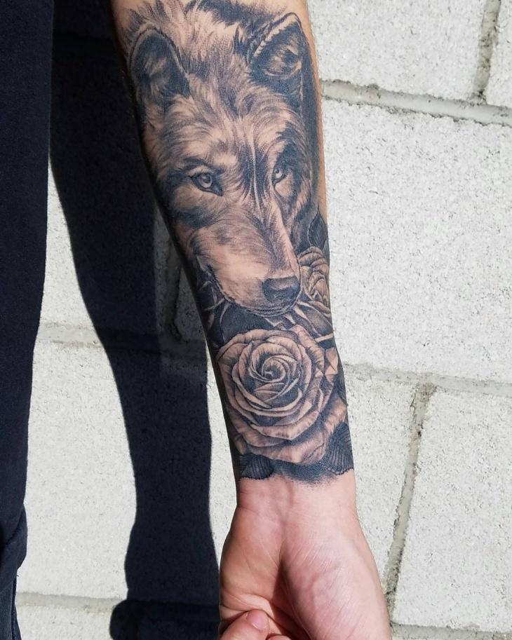 Wolf Forearm Sleeve Tattoo