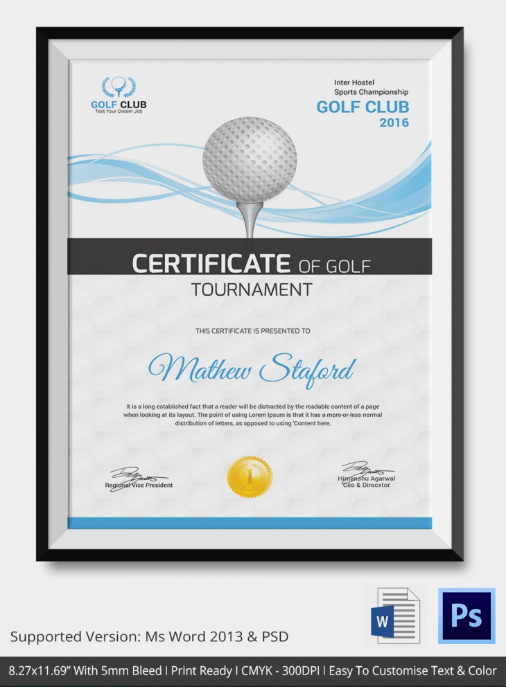 Simple Golf Certificate