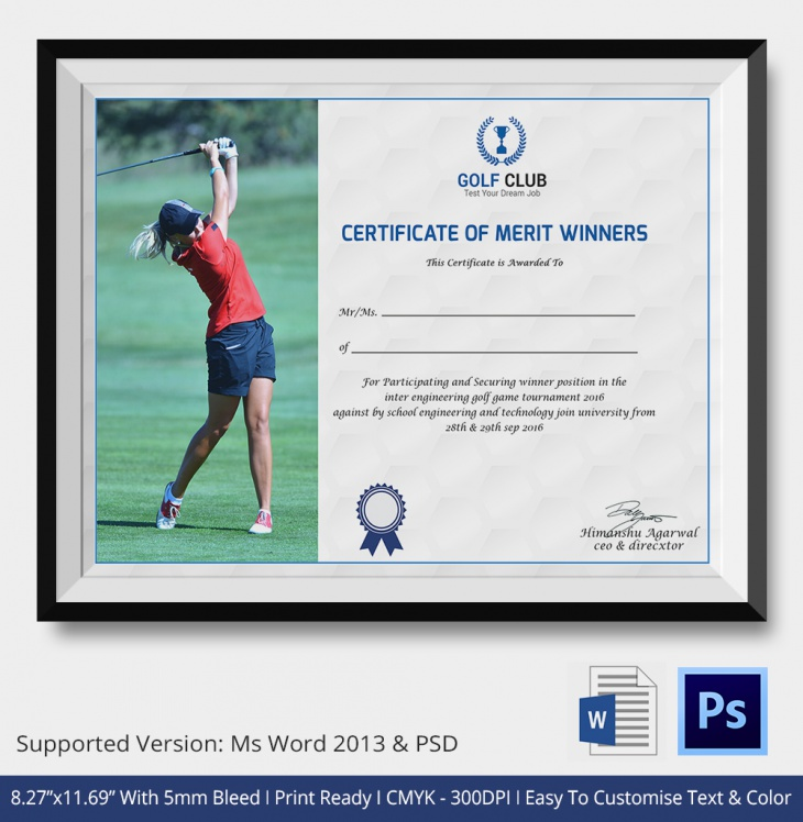 Golf Certificate of Participation