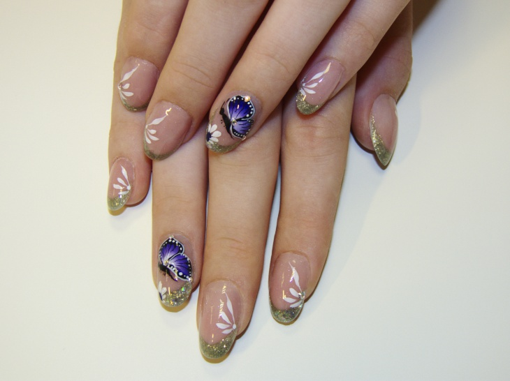 french tip angel wing nails