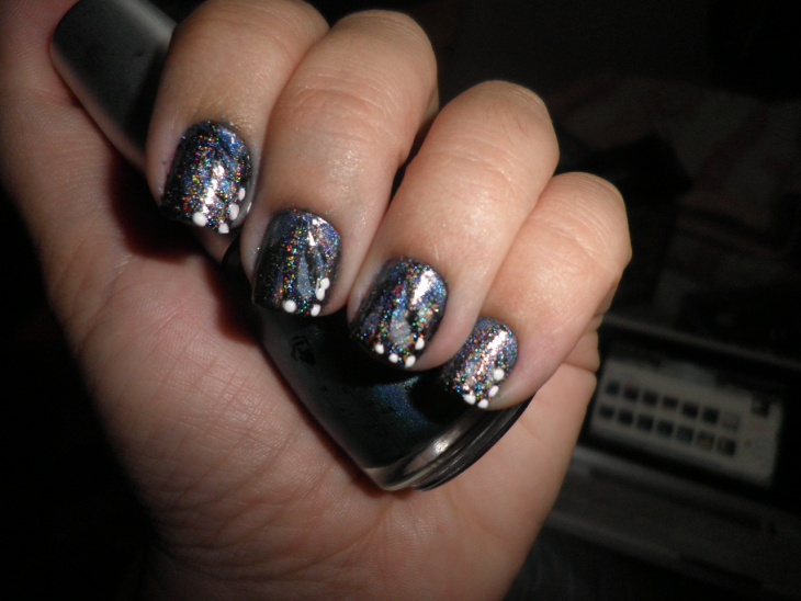 shiny angel wings nails
