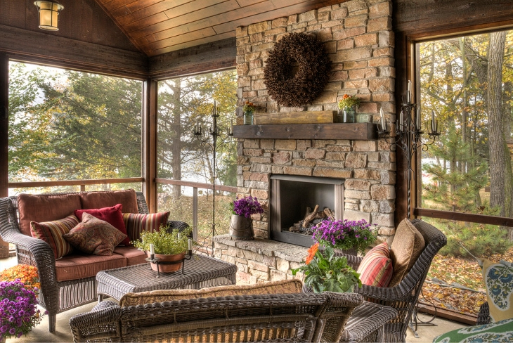 rustic Porch farmhouse living room