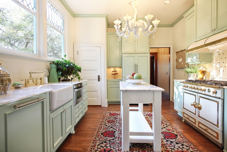 white chandelier farmhouse kitchen