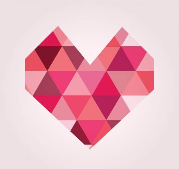 pink geometric heart shape