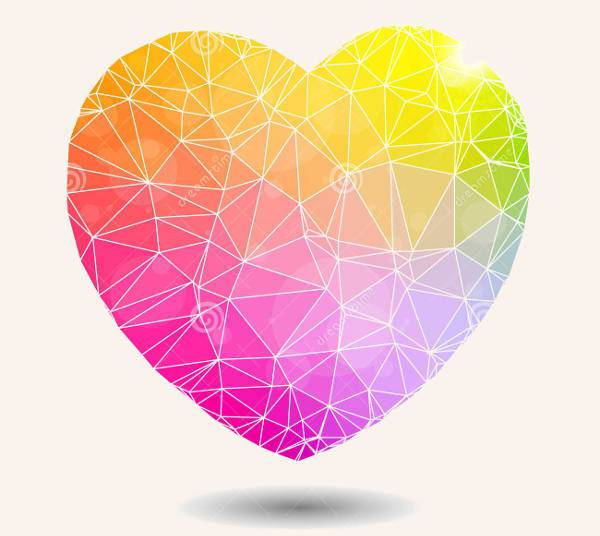 Abstract Colorful Geometric Heart Shape