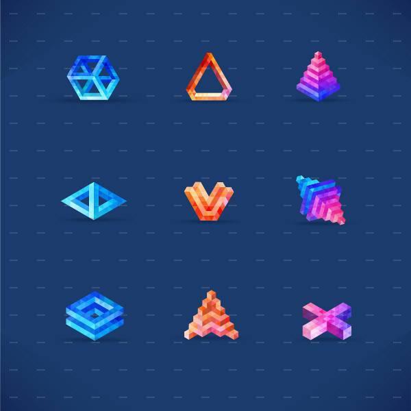 simple 3d geometric shapes