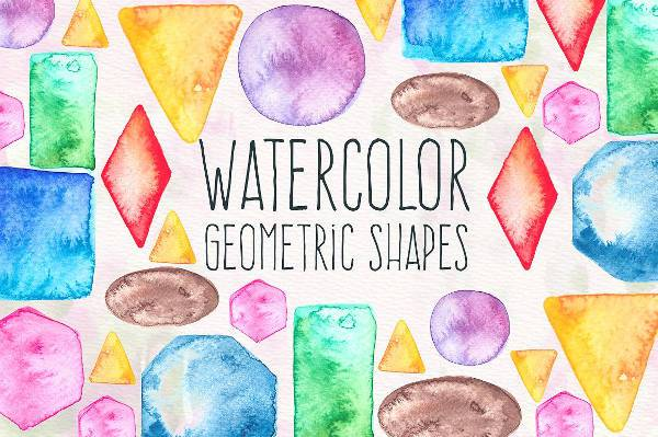 High Resolution Watercolor Geometric Shapes
