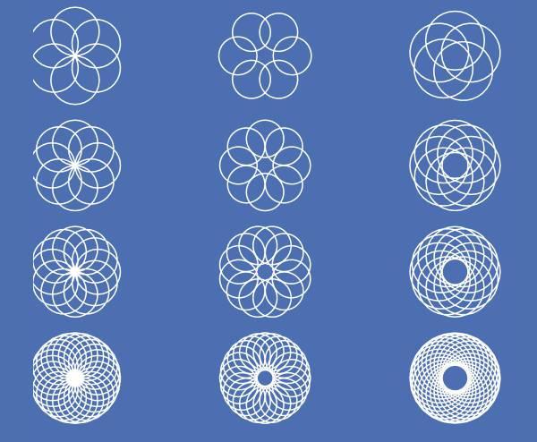 white circular geometric shapes
