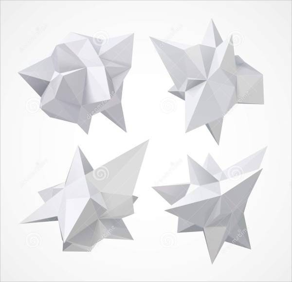 White Low Poly Geometric Shapes