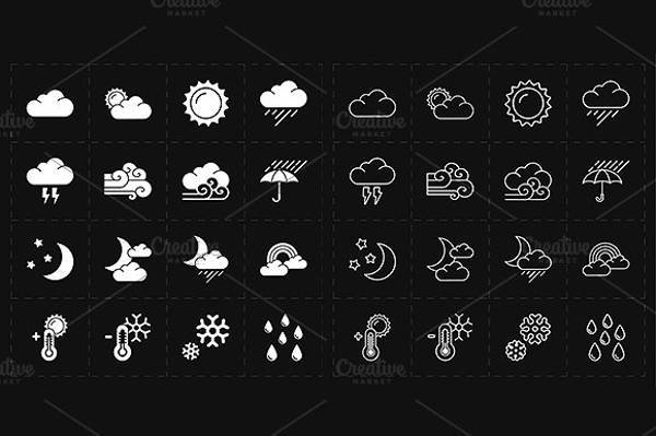 black and white modern weather icons