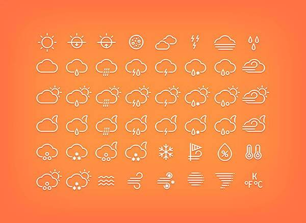 flat thin line weather icons