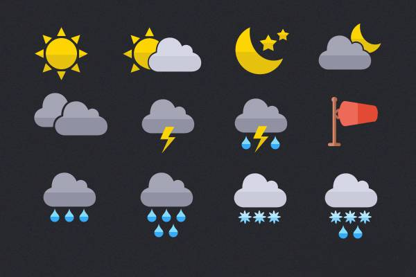 free flat psd weather icons