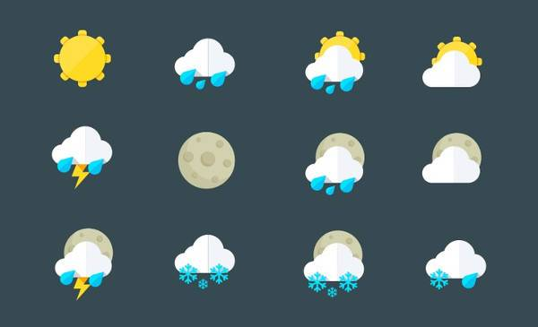 flat weather icons for desktop