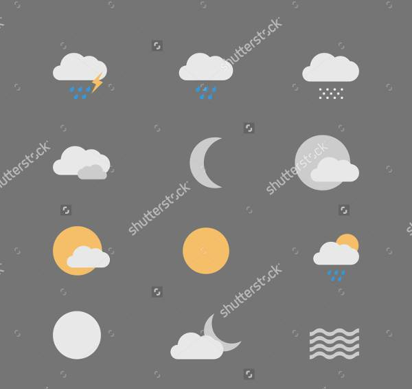 flat minimal weather icons