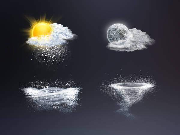 realistic cloud weather icons
