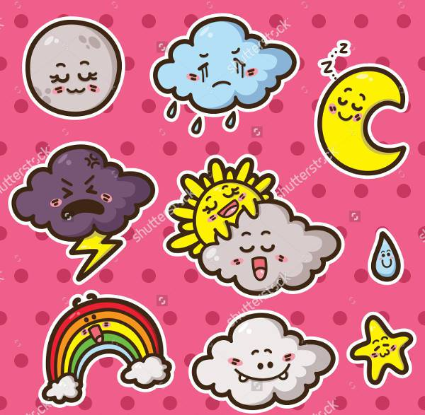 colorful funny weather icons