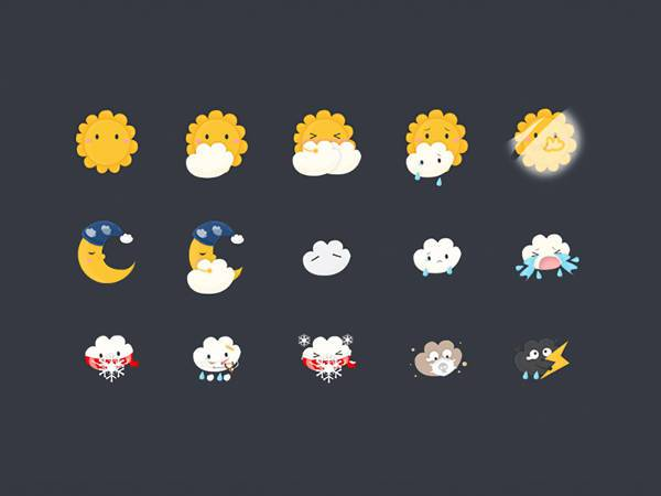 cute funny weather icons