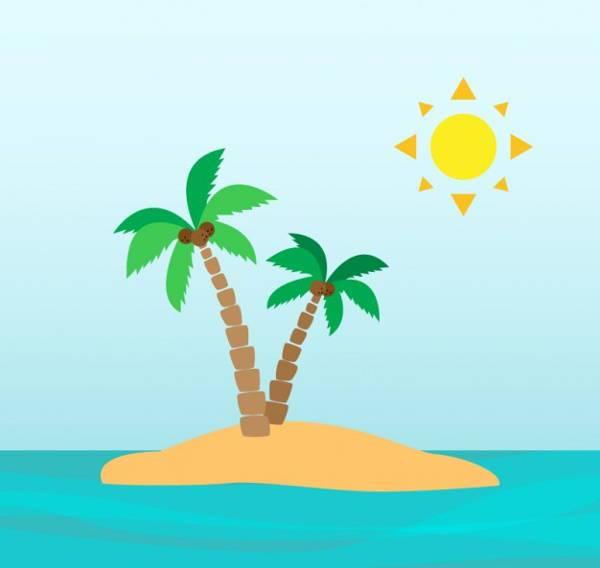 palm trees on desert island clipart