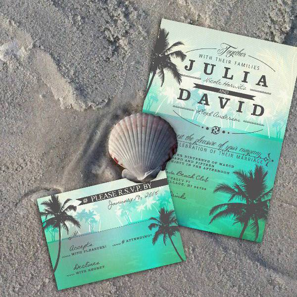 15 Beach Wedding Invitations Printable PSD AI Vector EPS – Beach Wedding Invitations