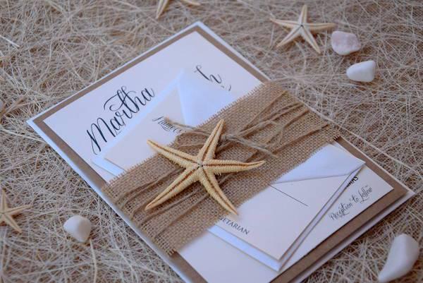 Rustic Beach Burlap Wedding Invitation