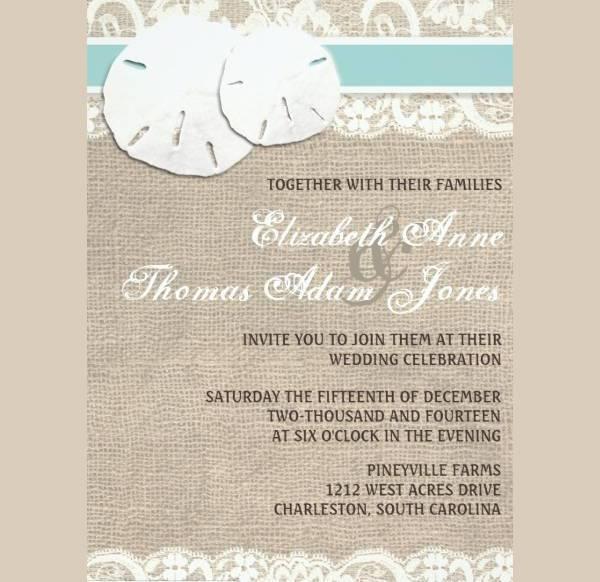 Beach Rustic Lace Wedding Invitation