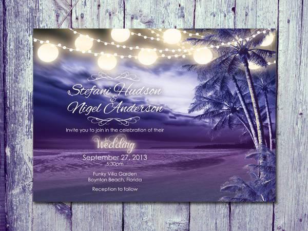 Purple Night Beach Wedding Invitation