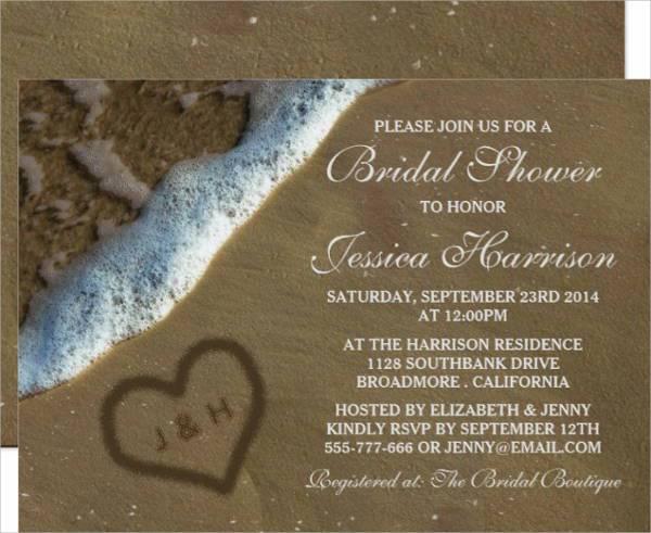Beach Wedding Bridal Shower Invitation