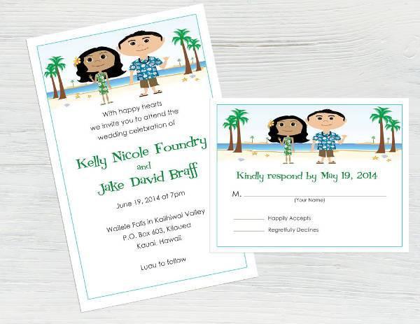 Funny Cartoon Beach Wedding Invitation