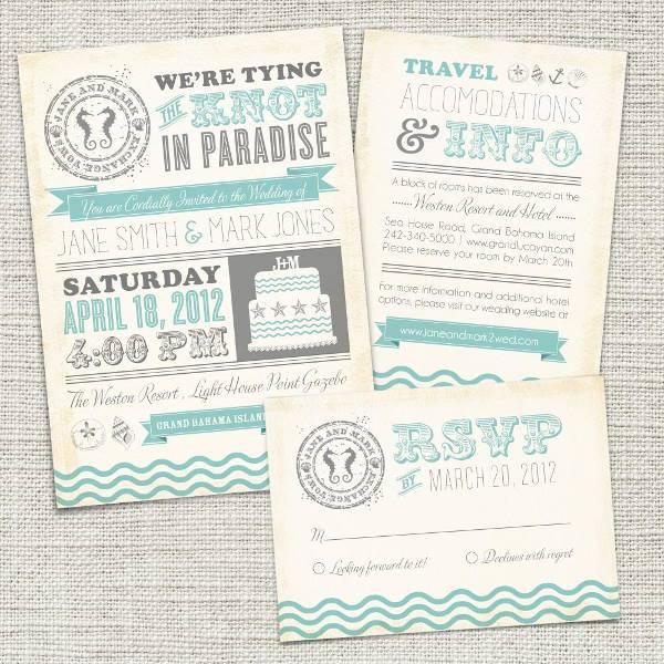 Printable Vintage Beach Wedding Invitation