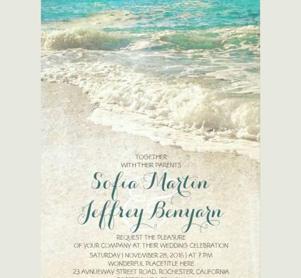 Customize Vintage Beach Wedding Invitation