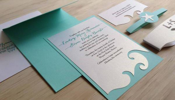 15 Beach Wedding Invitations Printable PSD AI Vector EPS – Handmade Beach Wedding Invitations