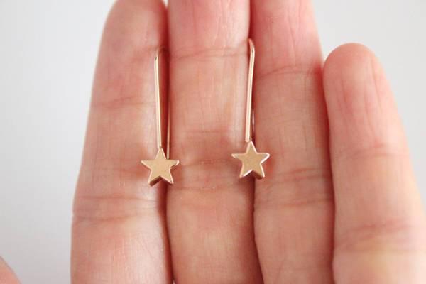 tiny rose gold star earrings
