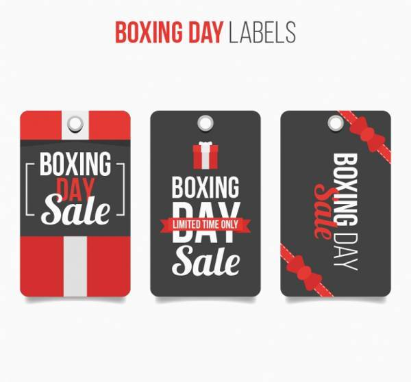 Red and Black Boxing Day Labels