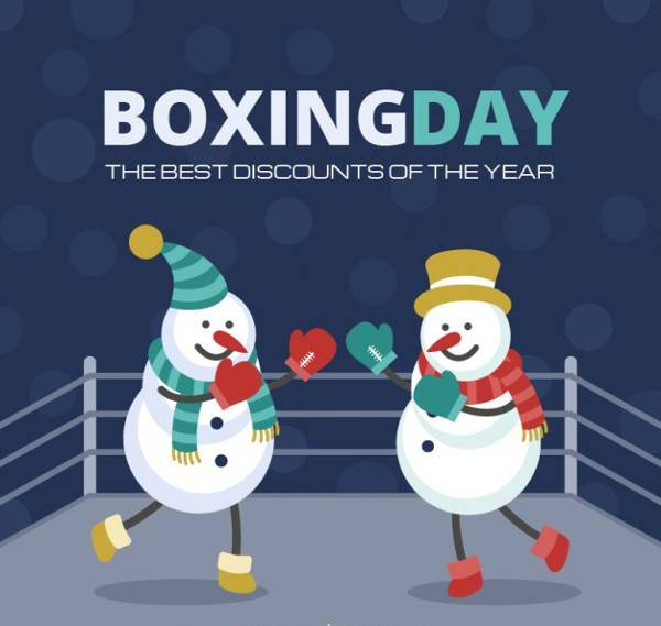 Snowy Boxing Day Illustration