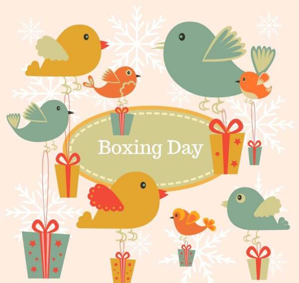 Boxing Day Vintage Birds Vector