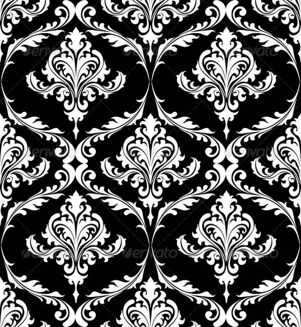 Black and White Vintage Damask Pattern