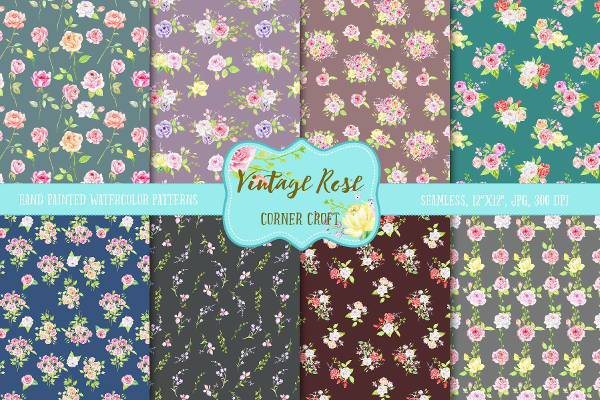 Vintage Rose Dark Pattern