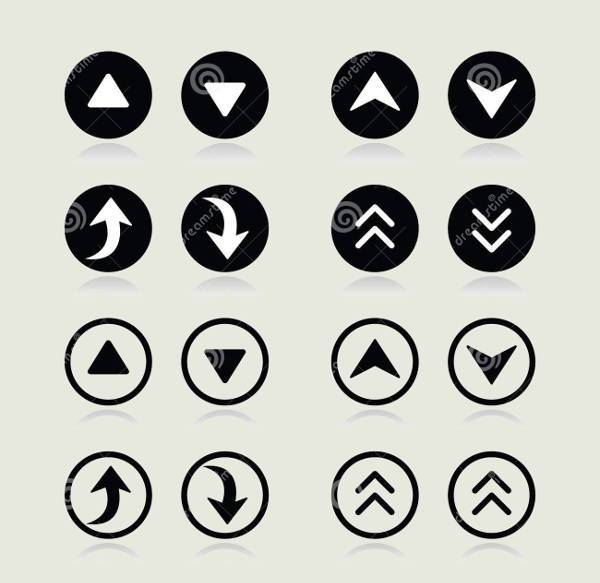 up and down arrow round icons