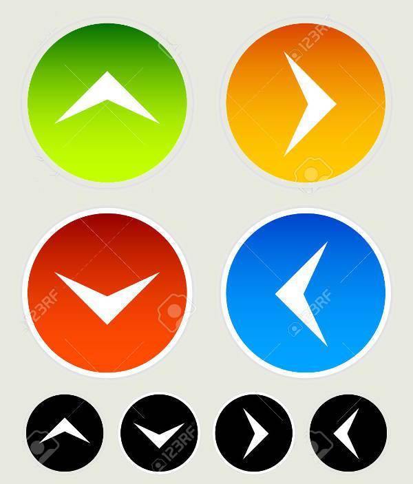 colorful up and down arrow icons