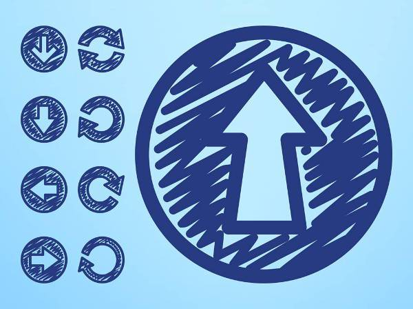 handdrawn round arrow icons