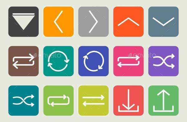 Flat Arrow Round Corner Icons