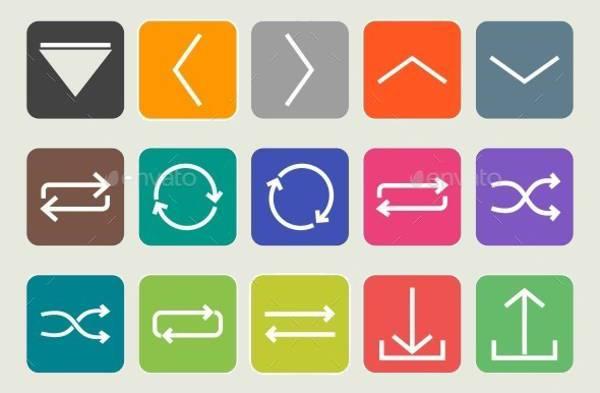 flat arrow round corner icons