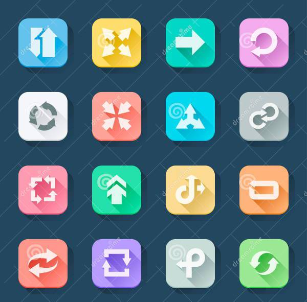 Flat Clorful Arrow Icons