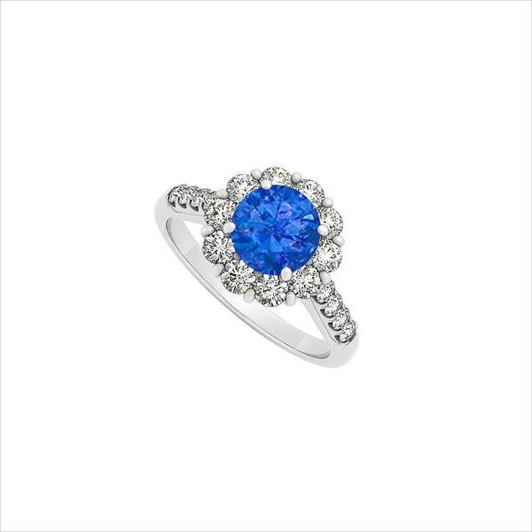 blue floral halo engagement ring