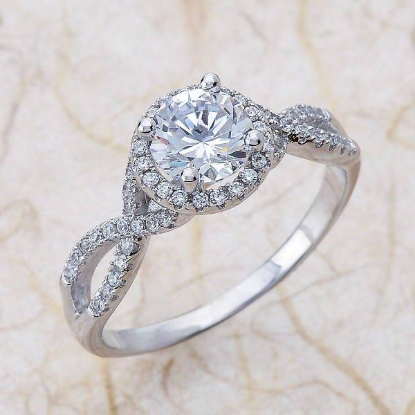 twisted infinity halo engagement ring